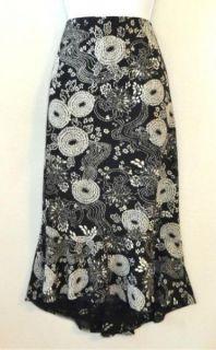 Allison Taylor Large Floral Print Black Cream Asymmetrical Skirt