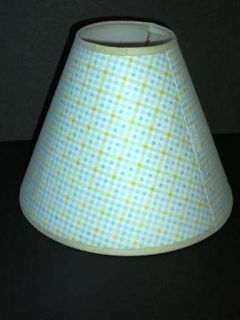 Amy COE Baby Lamp Shade Blue Green Plaid Gingham