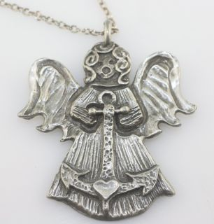 Marcie Pewter Angel Faith anchor heart pendant necklace chain large