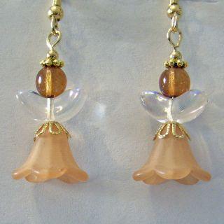 Sparkling Crystal Lt Brown Flower Angel Earrings