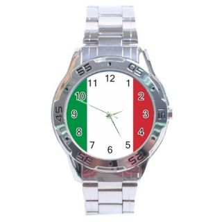 Italy Flag Stainless Steel Analogue Watch Italian