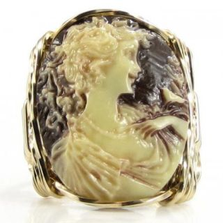 Anastasia Lady Bird Cameo Ring 14K Rolled Gold