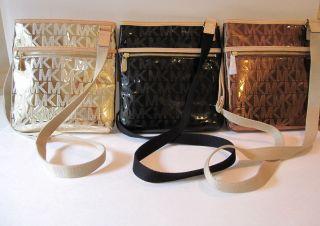 Michael Kors Signature Mirror Metallic Crossbody Bag Pale Gold Black