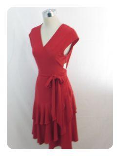 New Jones New York Vermillion Red Cap Sleeve Tiered V Neck Wrap Dress