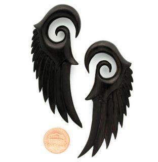 Angel Dark Wood Wings Seraphim Ear Gauge Plug Organic