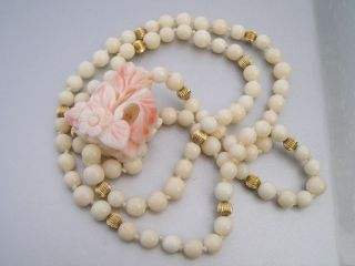 Antique White Angel Skin Coral Flower Beaded Flapper Necklace Stunning