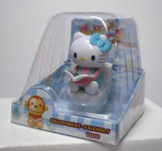 Hello Kitty Funny Solar Power Toilet BobbleHead Figure Blue Bow