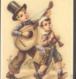 Happy Anniversary Musical Children Guitar Horn Postcard