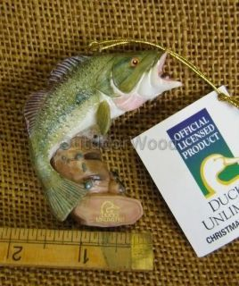 Ducks Unlimited Licensed Large Mouth Bass Fish Fishing Ornament