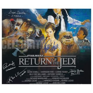STAR WARS CAST SIGNED RETURN OF THE JEDI 27x40 POSTER * HARRISON FORD