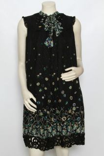 Anna Sui Black Floral Silk Lace Cocktail Dress Sz L $490