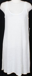Eileen Fisher White Linen Jersey Knit Tank Dress PM