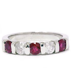 14k White Gold Ruby Diamond Wedding Anniversary Ring Band 4 9