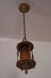 Antique Vtg Art Deco Solid Brass Chandelier Pendant Suspended Arrow
