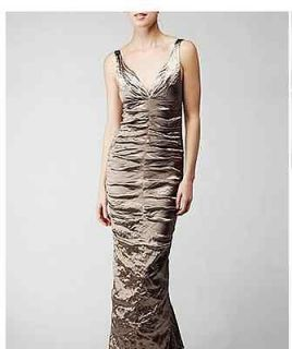 Nicole Miller Techno Metal Evening Gown   Size 0, color Mocha