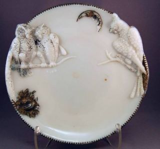 Antique Milk Glass Owl and Parrot Plate Unique