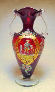 Antique Art Nouveau Ruby Red Venetian Moser Enameled Portrait Glass