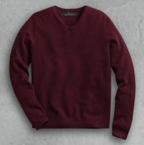 NWT Marc Anthony Cashmere V Neck Sweater   Size L   Dark Red