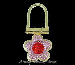 Anthony David Key Ring w Swarovski Crystal Pink Flower