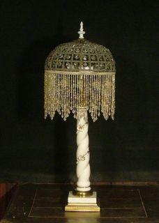 Antique Vintage Porcelian Table Lamp Crystal Net Shade w Beaded Fringe