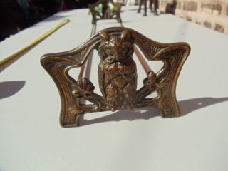 Antique Art Nouveau Deco Owl Bookends Brass Bookslide