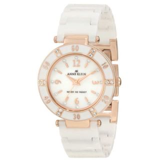 Anne Klein 10 9416RGWT Womens Swarovski Crystals Rose Gold Tone White