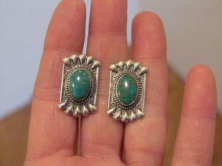 Vintage Sterling Silver Green Stone Screw Back Earrings
