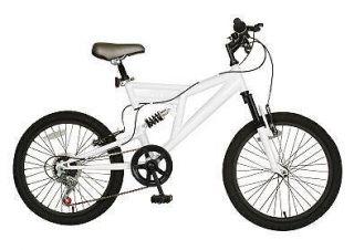 boys kids off road mt mtb mountain bike bicycle full suspension white