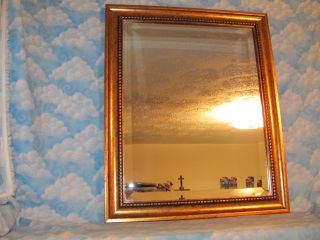 VINTAGE GOLD BEVELED GLASS MIRROR 24 X 21 X 3 GREAT FOR ANY ROOM