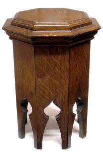 ANTIQUE QUARTER SAWN OAK NEO GOTHIC OCTAGONAL TABORET SIDE TABLE CIRCA