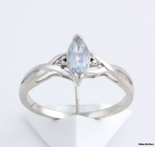 Aquamarine Ring 10K White Gold Diamond Accents 55ct Marquise Solitaire