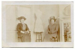 DRESSED WOMEN SITTING BY SEAMSTRESS DRESS FORM Vintage RPPC MUST SEE