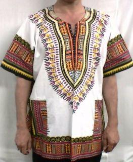 African Men Women Dashiki Shirt Blouse Top White Red NotCom S M L XL