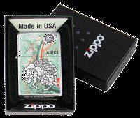 Aries Zodiac Sign Mar 21 Apr 19 High Polish Chrome Zippo Lighter 24931