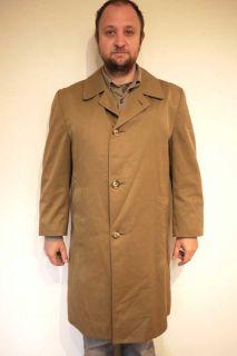 Vtg 60s Aquascutum Mens Trench Rain Coat Overcoat