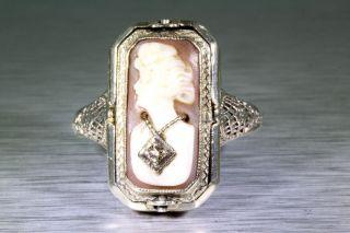 Antique 1920s Cameo Onyx Diamond 14k White Gold FLIP Filigree Ring
