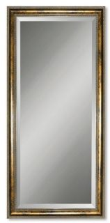Antique Gold Large Floor Mirror Wall Wood Frame Beveled