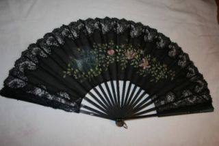 Fine Antique Hand Painted Ebony Lace Silk Fan 19th Century Lace