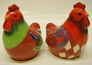 Jim Shore Heartwood Creek Salt Pepper set of 2 ROOSTER HEN MINT NIB