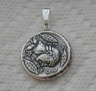 APOLLO GREEK GOD OF THE SUN & CHARIOTEER ANTIQUE SILVER PLATE COIN