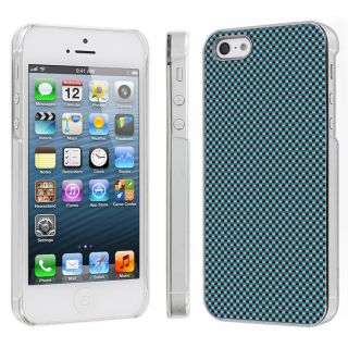 Apple iPhone 5 Snap on Hard Plastic Case Cover Carbon Fiber Blue
