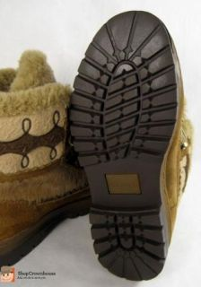 ARAPAHO Buffy Leather Fur Boots Brown Suede w Embroidery Sz 6 5 Indian