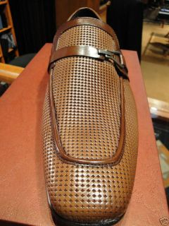 Mezlan Dress Shoe Cognac Brown Perforated Loafer Slip on 10 5