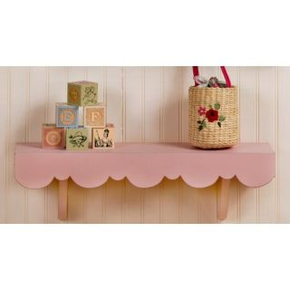 New Arrivals Scalloped Cottage Wall Shelf in Pink WSH 030
