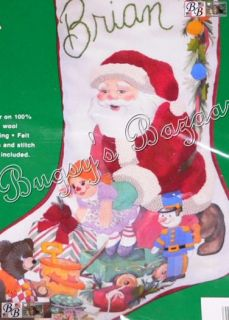 JCA JOLLY SANTA Stocking w Toys Crewel Stitchery Christmas Kit   Joan