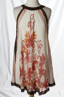 Arden B. Ivory Pink Brown Scarf Halter Dress Summer Occasion Cocktail