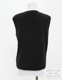 Armani COLLEZIONI Black Merino Wool Crewneck Sleeveless Sweater Size