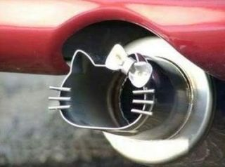 HELLO KITTY DIE CUT CAR EXHAUST PIPE STAINLESS STEEL NEW RARE PRE