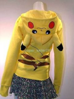 New Pokemon Pikachu Hoodie Hoody Cosplay Costume 100% Cotton Clothes