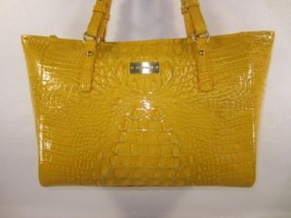 245 Brahmin Sol Yellow Med Arno Glossy Croc Embossed Leather Tote Bag